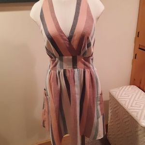 Halter striped dress with front hook and eye